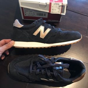 New rose gold and navy new balance sneakers